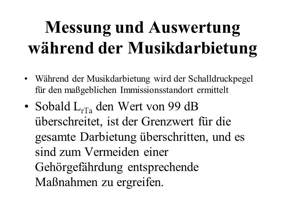 Messung und Auswertung während der Musikdarbietung Während der Musikdarbietung wird der Schalldruckpegel für den maßgeblichen Immissionsstandort ermit