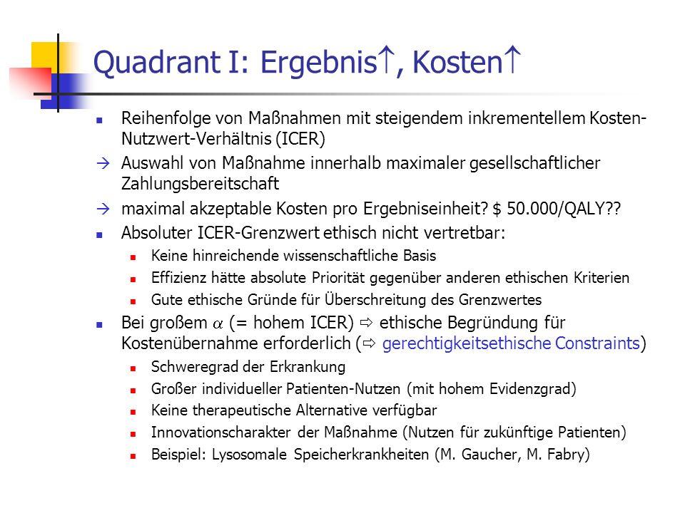 Quadrant I: Ergebnis, Kosten Reihenfolge von Maßnahmen mit steigendem inkrementellem Kosten- Nutzwert-Verhältnis (ICER) Auswahl von Maßnahme innerhalb
