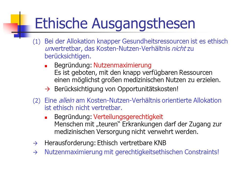 Ethische Ausgangsthesen (1) Bei der Allokation knapper Gesundheitsressourcen ist es ethisch unvertretbar, das Kosten-Nutzen-Verhältnis nicht zu berück