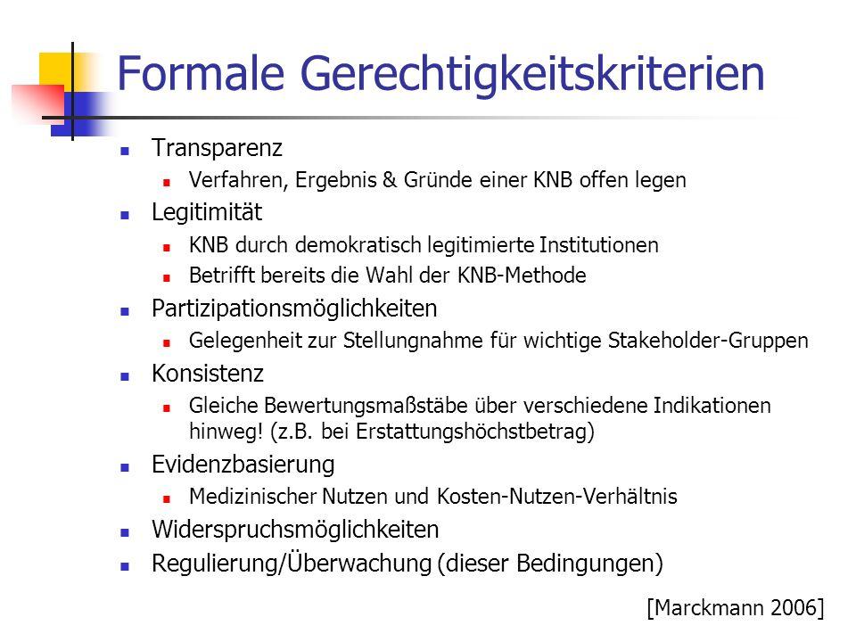 Formale Gerechtigkeitskriterien Transparenz Verfahren, Ergebnis & Gründe einer KNB offen legen Legitimität KNB durch demokratisch legitimierte Institu