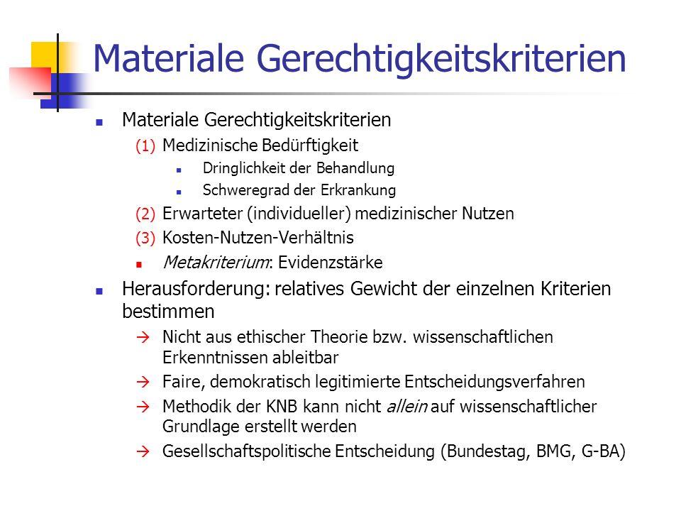 Materiale Gerechtigkeitskriterien (1) Medizinische Bedürftigkeit Dringlichkeit der Behandlung Schweregrad der Erkrankung (2) Erwarteter (individueller