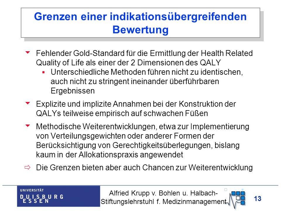 13 Grenzen einer indikationsübergreifenden Bewertung Fehlender Gold-Standard für die Ermittlung der Health Related Quality of Life als einer der 2 Dim