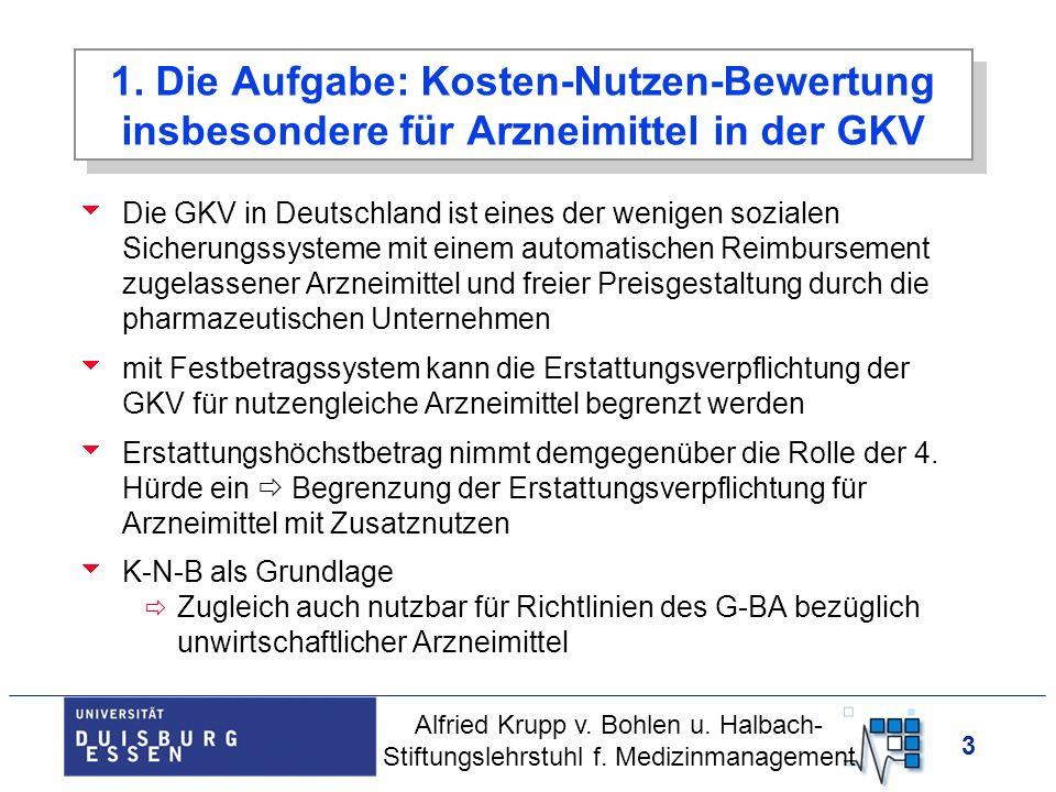 3 1. Die Aufgabe: Kosten-Nutzen-Bewertung insbesondere für Arzneimittel in der GKV Die GKV in Deutschland ist eines der wenigen sozialen Sicherungssys