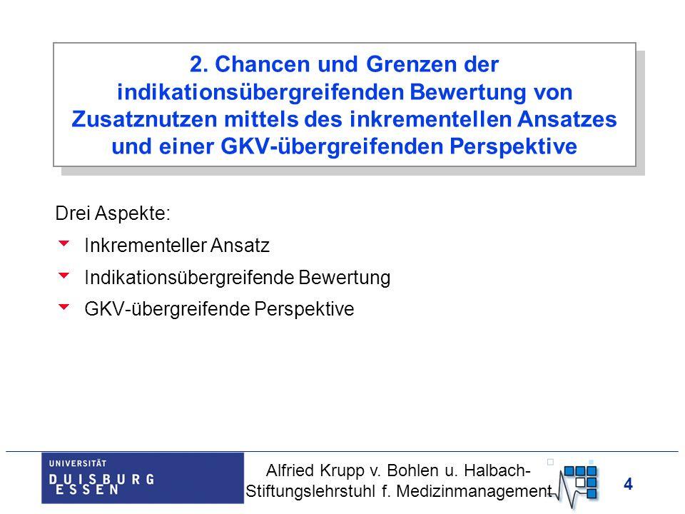 4 Drei Aspekte: Inkrementeller Ansatz Indikationsübergreifende Bewertung GKV-übergreifende Perspektive Alfried Krupp v. Bohlen u. Halbach- Stiftungsle