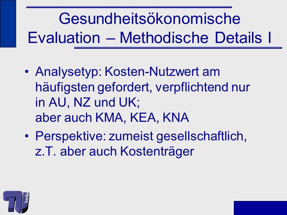 Gesundheitsökonomische Evaluation – Methodische Details II Messung des Nutzens (Nutzwertes): QALYs nur in wenigen Ländern verpflichtend; Instrument zumeist nicht fest vorgegeben (z.T.