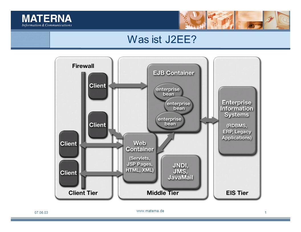 07.06.03 www.materna.de 1 Tätigkeiten innerhalb des Projektes Installieren der einzelnen Komponenten (J2EE, ANT, JBoss, MySQL) Anpassen und Aufspielen des Datenbankschemas Anpassungen an der Applikation (Implementierung) Aufspielen der angepassten Applikation Schreiben einer Installationsdokumentation Kostenanalyse Open Source Komponenten versus kommerzielle Software