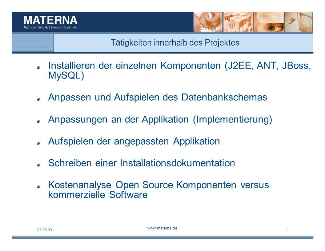 07.06.03 www.materna.de 1 Systemübersicht Mandrake Linux 9 Web- Browser CVS Entwicklung Produktion ANT Source Code JBOSS Jetty Applikation Java2SE MySQL Core (Framework)