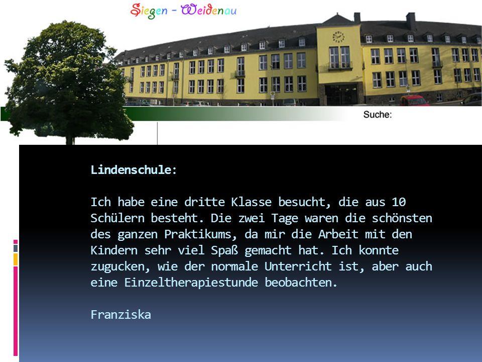 Lindenschule: Ich habe eine dritte Klasse besucht, die aus 10 Schülern besteht. Die zwei Tage waren die schönsten des ganzen Praktikums, da mir die Ar