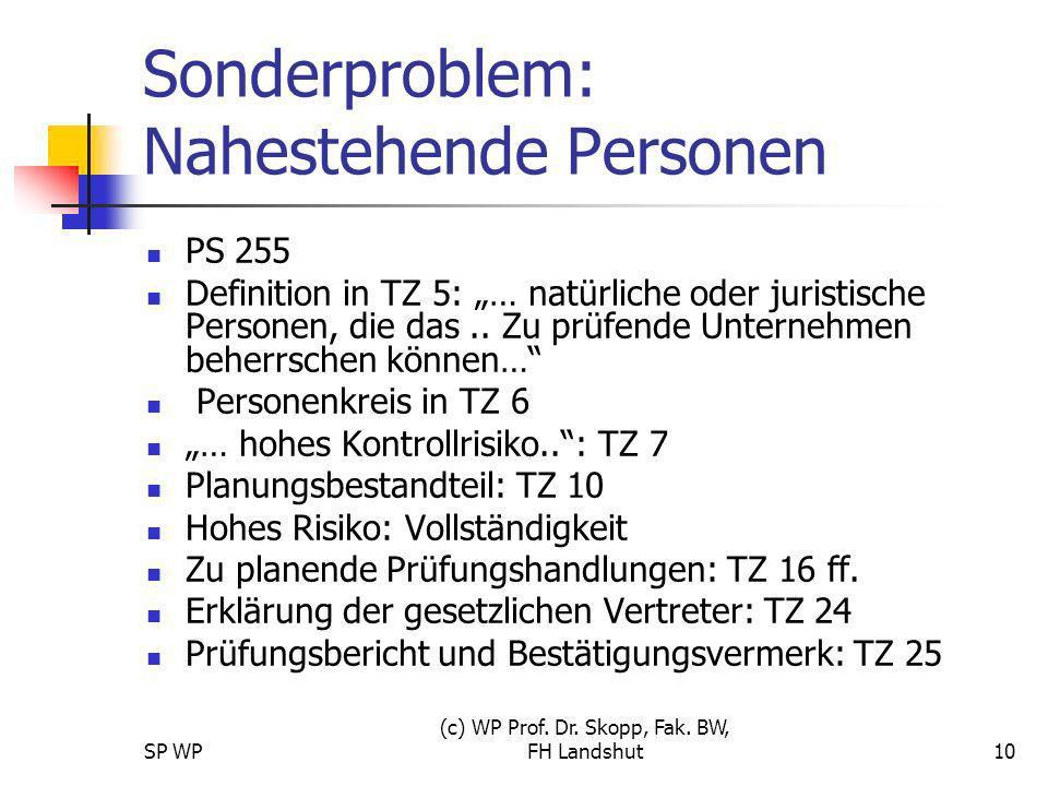 SP WP (c) WP Prof. Dr. Skopp, Fak. BW, FH Landshut10 Sonderproblem: Nahestehende Personen PS 255 Definition in TZ 5: … natürliche oder juristische Per