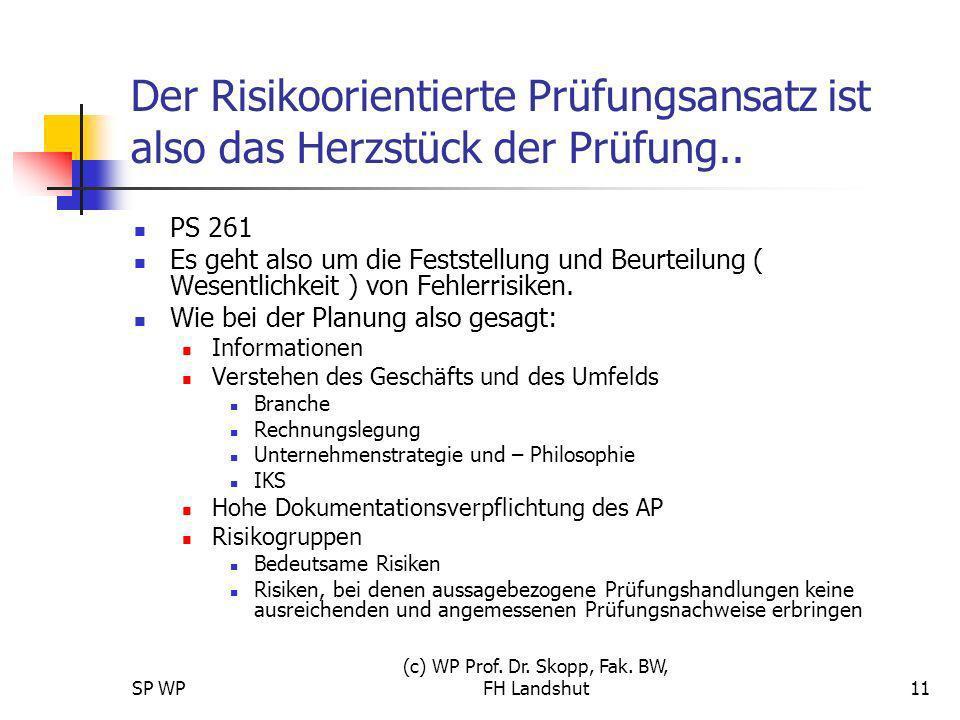 SP WP (c) WP Prof. Dr. Skopp, Fak. BW, FH Landshut11 Der Risikoorientierte Prüfungsansatz ist also das Herzstück der Prüfung.. PS 261 Es geht also um