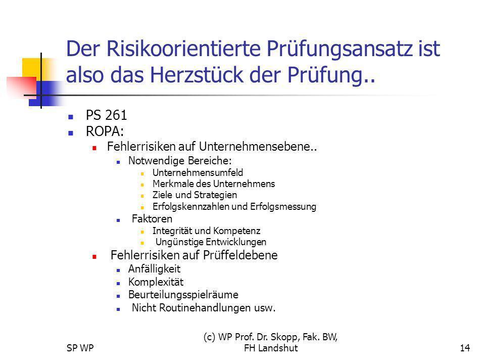 SP WP (c) WP Prof. Dr. Skopp, Fak. BW, FH Landshut14 Der Risikoorientierte Prüfungsansatz ist also das Herzstück der Prüfung.. PS 261 ROPA: Fehlerrisi
