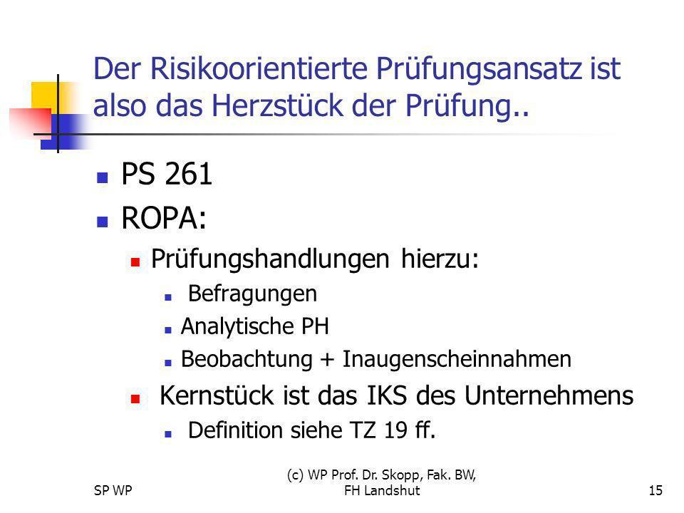 SP WP (c) WP Prof. Dr. Skopp, Fak. BW, FH Landshut15 Der Risikoorientierte Prüfungsansatz ist also das Herzstück der Prüfung.. PS 261 ROPA: Prüfungsha