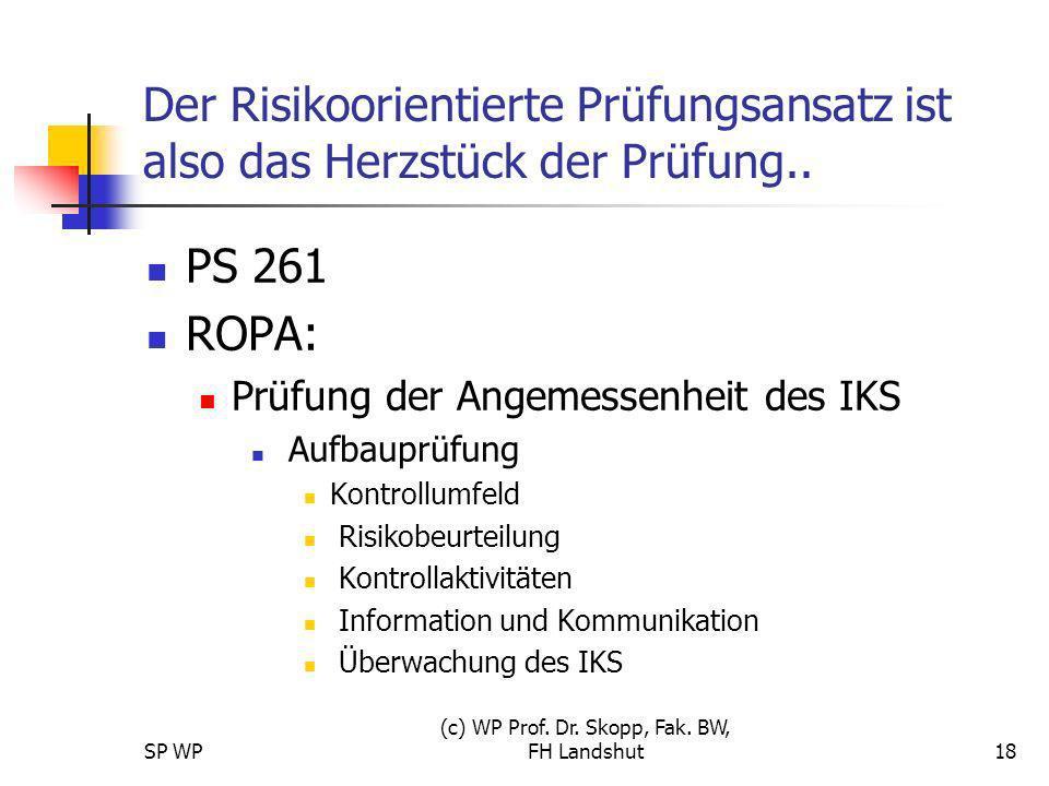 SP WP (c) WP Prof. Dr. Skopp, Fak. BW, FH Landshut18 Der Risikoorientierte Prüfungsansatz ist also das Herzstück der Prüfung.. PS 261 ROPA: Prüfung de