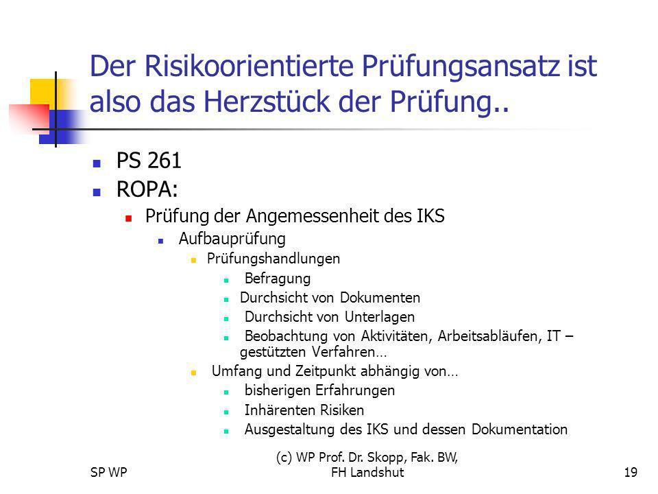 SP WP (c) WP Prof. Dr. Skopp, Fak. BW, FH Landshut19 Der Risikoorientierte Prüfungsansatz ist also das Herzstück der Prüfung.. PS 261 ROPA: Prüfung de