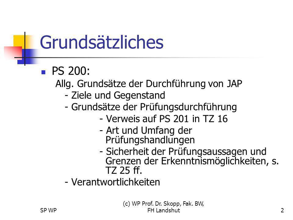 SP WP (c) WP Prof. Dr. Skopp, Fak. BW, FH Landshut2 Grundsätzliches PS 200: Allg. Grundsätze der Durchführung von JAP - Ziele und Gegenstand - Grundsä