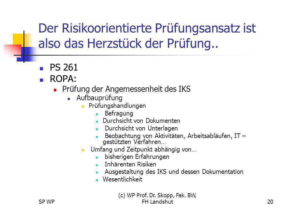 SP WP (c) WP Prof. Dr. Skopp, Fak. BW, FH Landshut20 Der Risikoorientierte Prüfungsansatz ist also das Herzstück der Prüfung.. PS 261 ROPA: Prüfung de