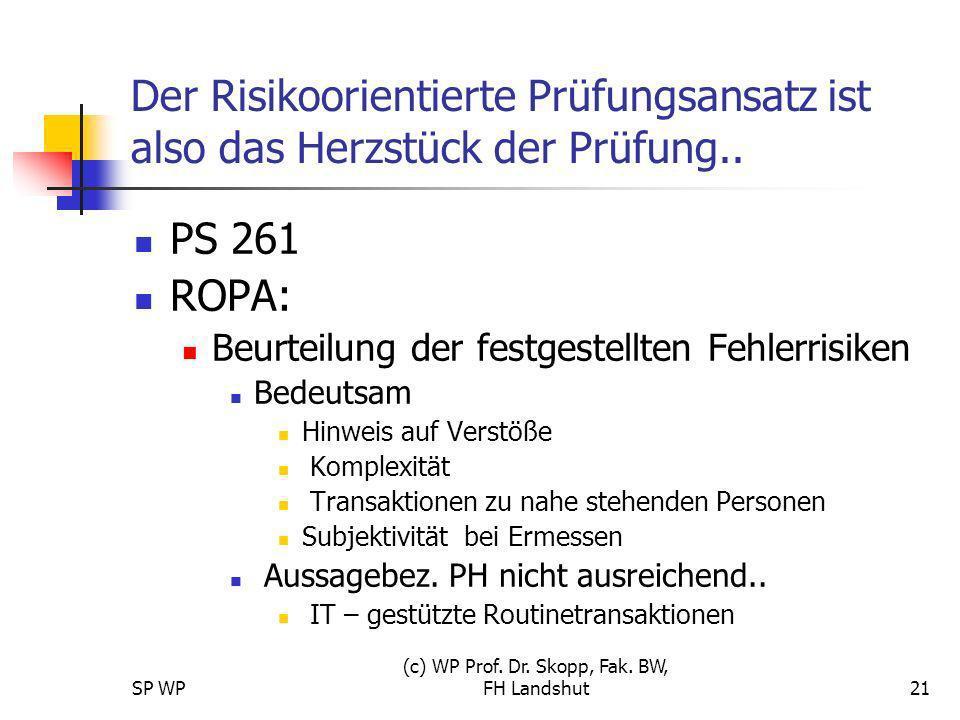 SP WP (c) WP Prof. Dr. Skopp, Fak. BW, FH Landshut21 Der Risikoorientierte Prüfungsansatz ist also das Herzstück der Prüfung.. PS 261 ROPA: Beurteilun