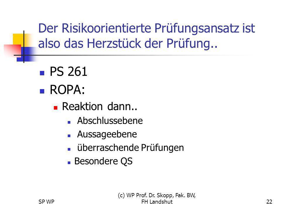 SP WP (c) WP Prof. Dr. Skopp, Fak. BW, FH Landshut22 Der Risikoorientierte Prüfungsansatz ist also das Herzstück der Prüfung.. PS 261 ROPA: Reaktion d