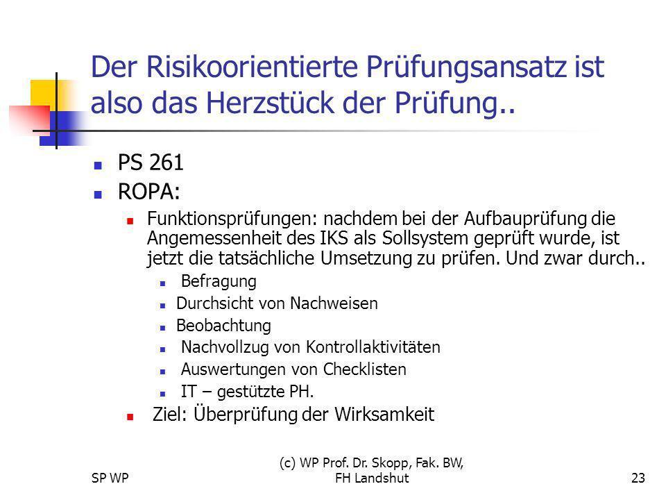 SP WP (c) WP Prof. Dr. Skopp, Fak. BW, FH Landshut23 Der Risikoorientierte Prüfungsansatz ist also das Herzstück der Prüfung.. PS 261 ROPA: Funktionsp