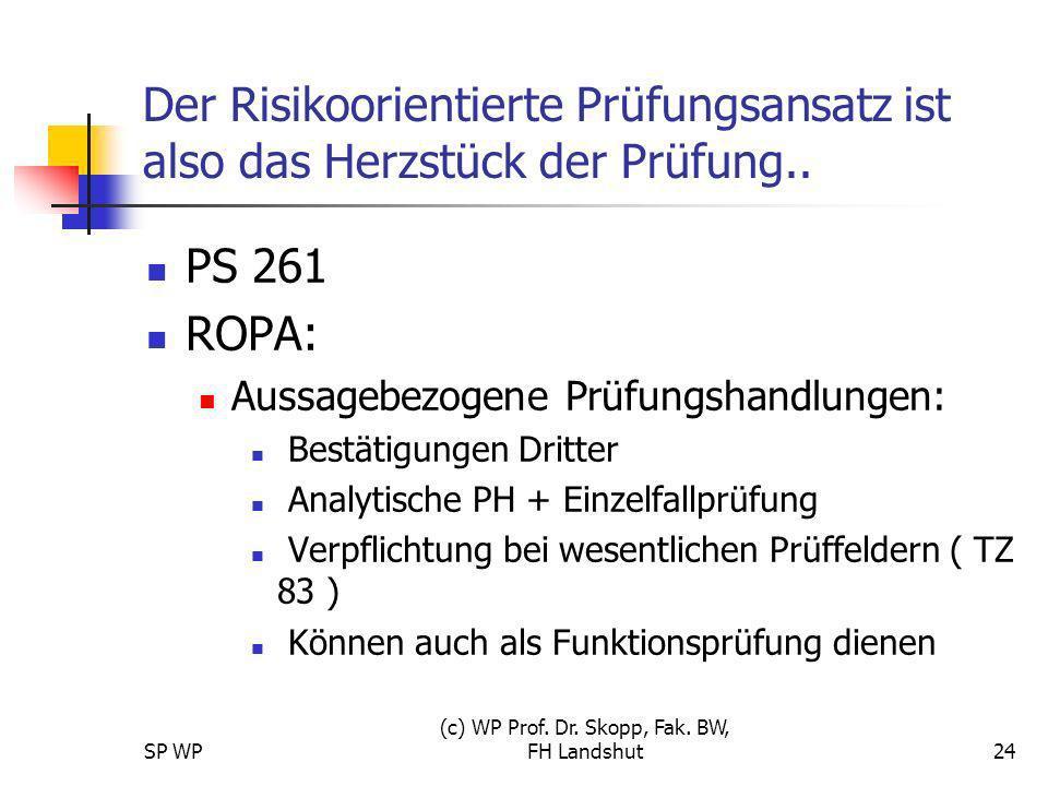 SP WP (c) WP Prof. Dr. Skopp, Fak. BW, FH Landshut24 Der Risikoorientierte Prüfungsansatz ist also das Herzstück der Prüfung.. PS 261 ROPA: Aussagebez