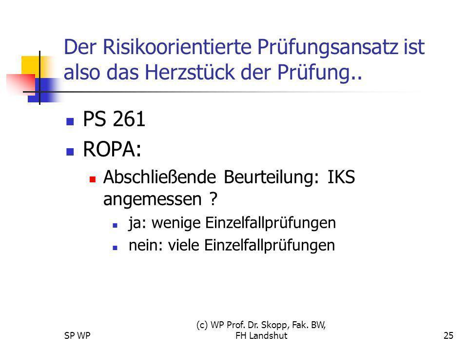 SP WP (c) WP Prof. Dr. Skopp, Fak. BW, FH Landshut25 Der Risikoorientierte Prüfungsansatz ist also das Herzstück der Prüfung.. PS 261 ROPA: Abschließe