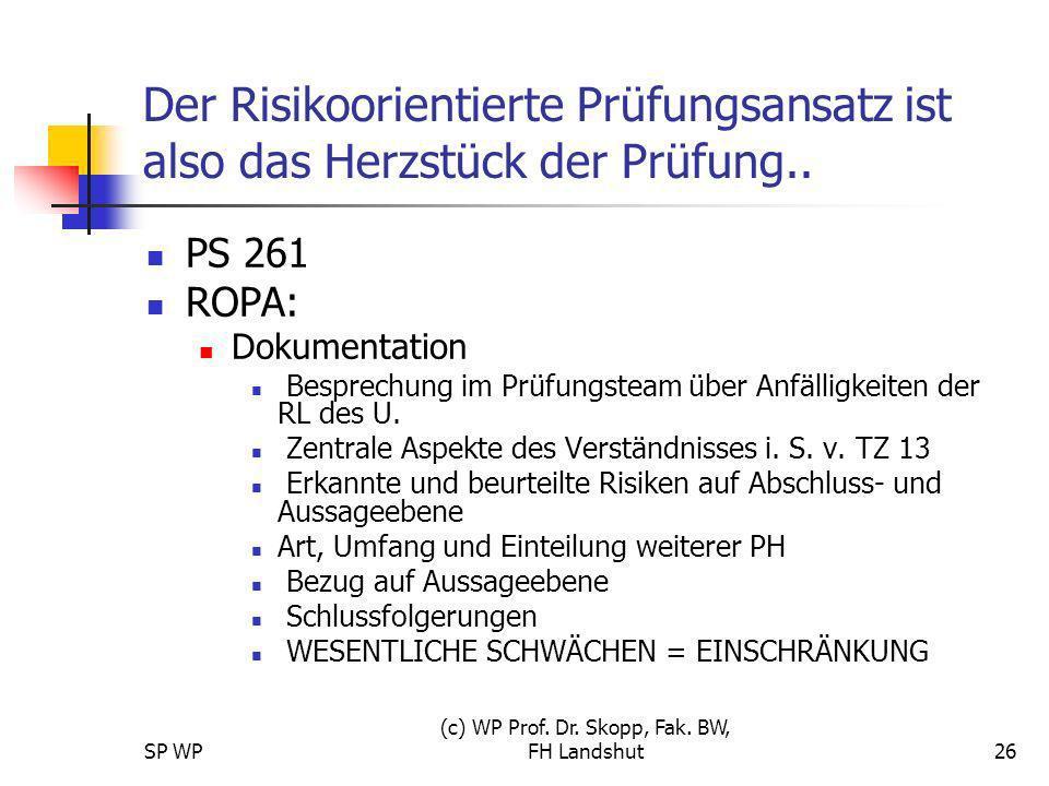 SP WP (c) WP Prof. Dr. Skopp, Fak. BW, FH Landshut26 Der Risikoorientierte Prüfungsansatz ist also das Herzstück der Prüfung.. PS 261 ROPA: Dokumentat