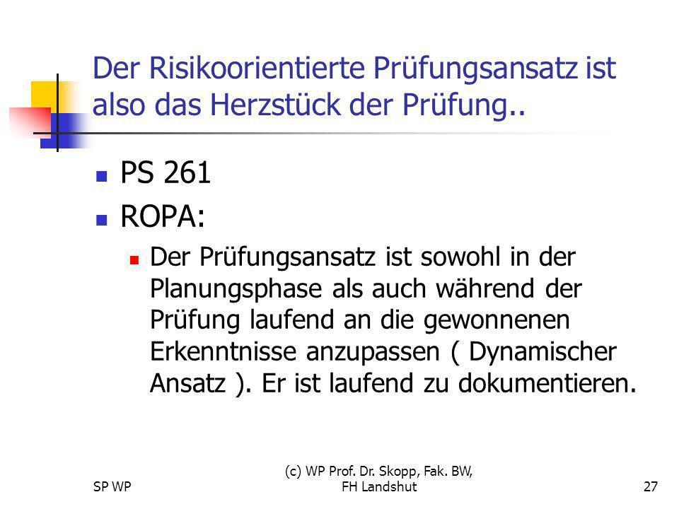 SP WP (c) WP Prof. Dr. Skopp, Fak. BW, FH Landshut27 Der Risikoorientierte Prüfungsansatz ist also das Herzstück der Prüfung.. PS 261 ROPA: Der Prüfun
