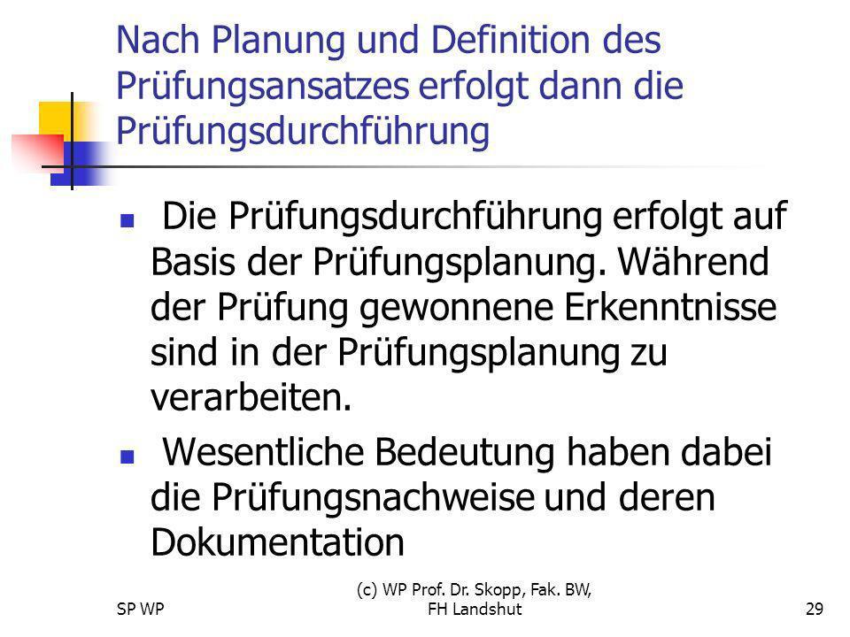 SP WP (c) WP Prof. Dr. Skopp, Fak. BW, FH Landshut29 Nach Planung und Definition des Prüfungsansatzes erfolgt dann die Prüfungsdurchführung Die Prüfun