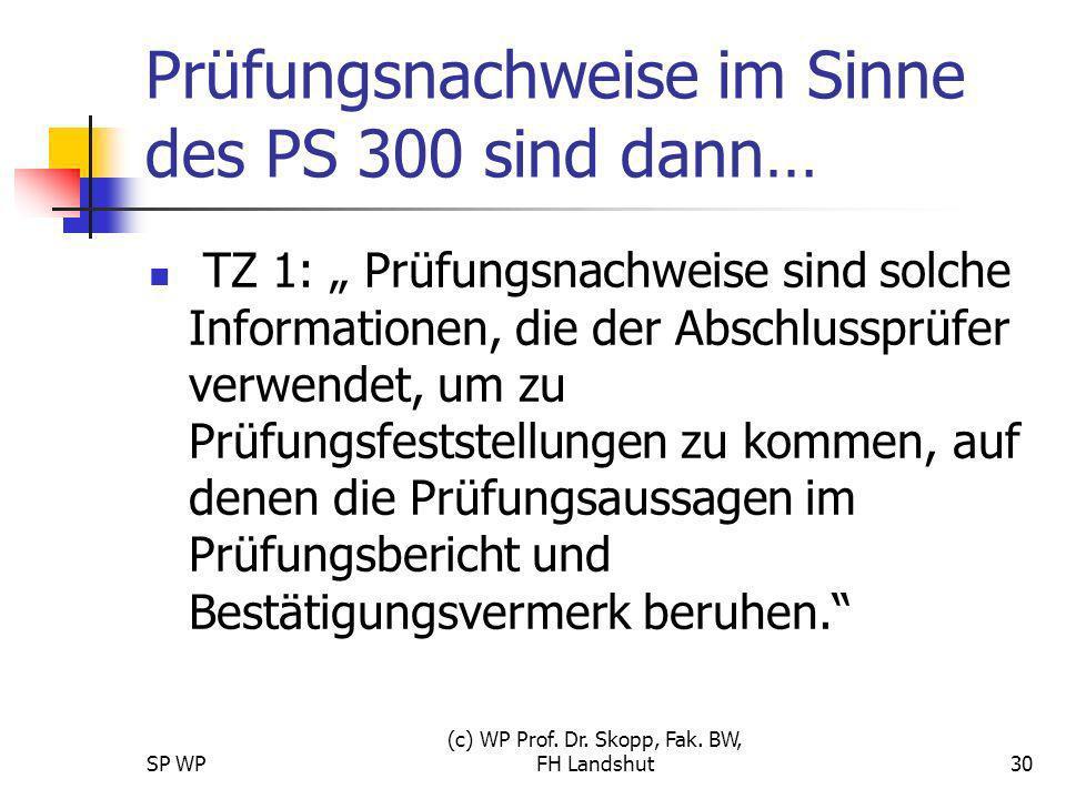 SP WP (c) WP Prof. Dr. Skopp, Fak. BW, FH Landshut30 Prüfungsnachweise im Sinne des PS 300 sind dann… TZ 1: Prüfungsnachweise sind solche Informatione