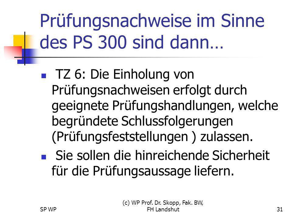 SP WP (c) WP Prof. Dr. Skopp, Fak. BW, FH Landshut31 Prüfungsnachweise im Sinne des PS 300 sind dann… TZ 6: Die Einholung von Prüfungsnachweisen erfol