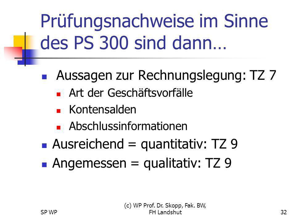 SP WP (c) WP Prof. Dr. Skopp, Fak. BW, FH Landshut32 Prüfungsnachweise im Sinne des PS 300 sind dann… Aussagen zur Rechnungslegung: TZ 7 Art der Gesch