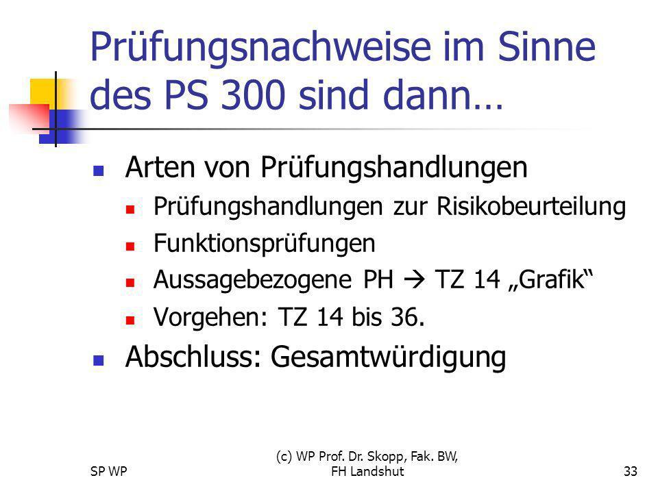 SP WP (c) WP Prof. Dr. Skopp, Fak. BW, FH Landshut33 Prüfungsnachweise im Sinne des PS 300 sind dann… Arten von Prüfungshandlungen Prüfungshandlungen