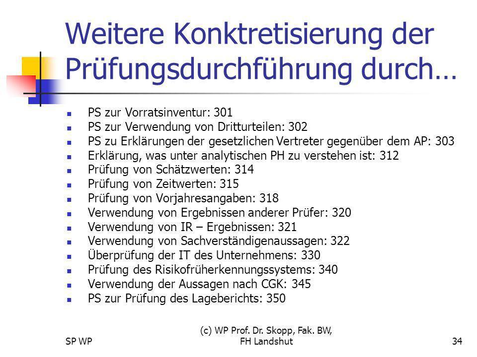 SP WP (c) WP Prof. Dr. Skopp, Fak. BW, FH Landshut34 Weitere Konktretisierung der Prüfungsdurchführung durch… PS zur Vorratsinventur: 301 PS zur Verwe