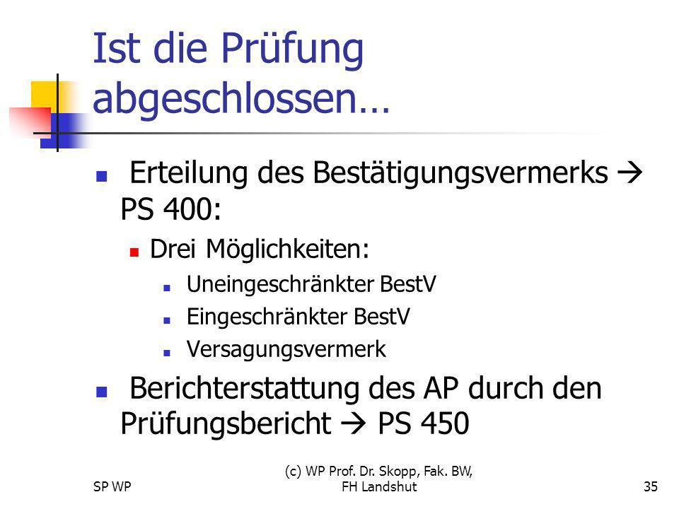 SP WP (c) WP Prof. Dr. Skopp, Fak. BW, FH Landshut35 Ist die Prüfung abgeschlossen… Erteilung des Bestätigungsvermerks PS 400: Drei Möglichkeiten: Une