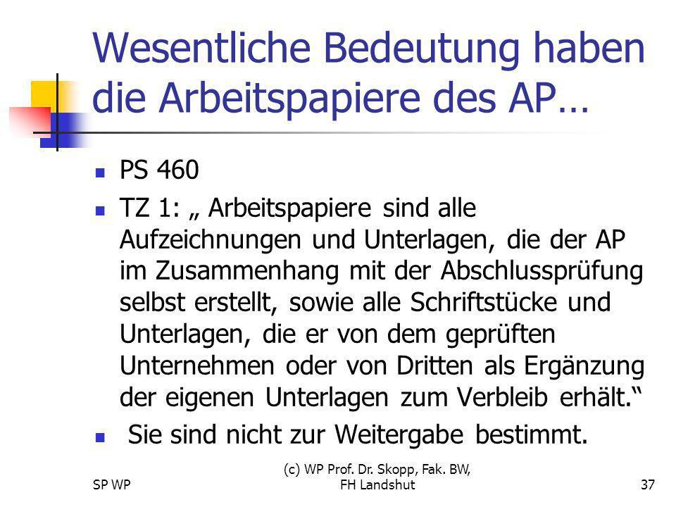 SP WP (c) WP Prof. Dr. Skopp, Fak. BW, FH Landshut37 Wesentliche Bedeutung haben die Arbeitspapiere des AP… PS 460 TZ 1: Arbeitspapiere sind alle Aufz