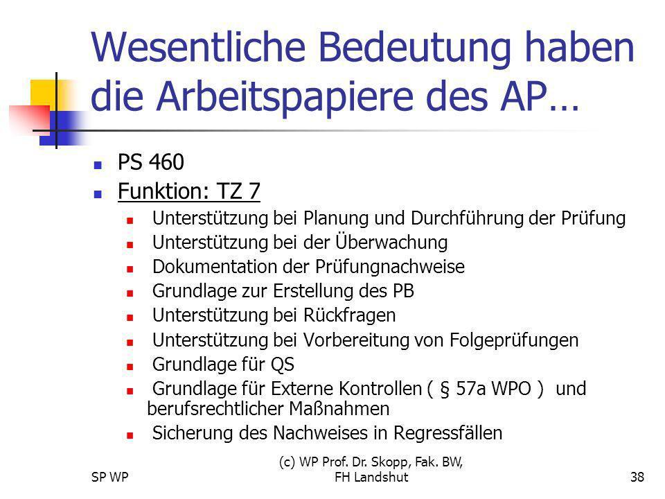 SP WP (c) WP Prof. Dr. Skopp, Fak. BW, FH Landshut38 Wesentliche Bedeutung haben die Arbeitspapiere des AP… PS 460 Funktion: TZ 7 Unterstützung bei Pl