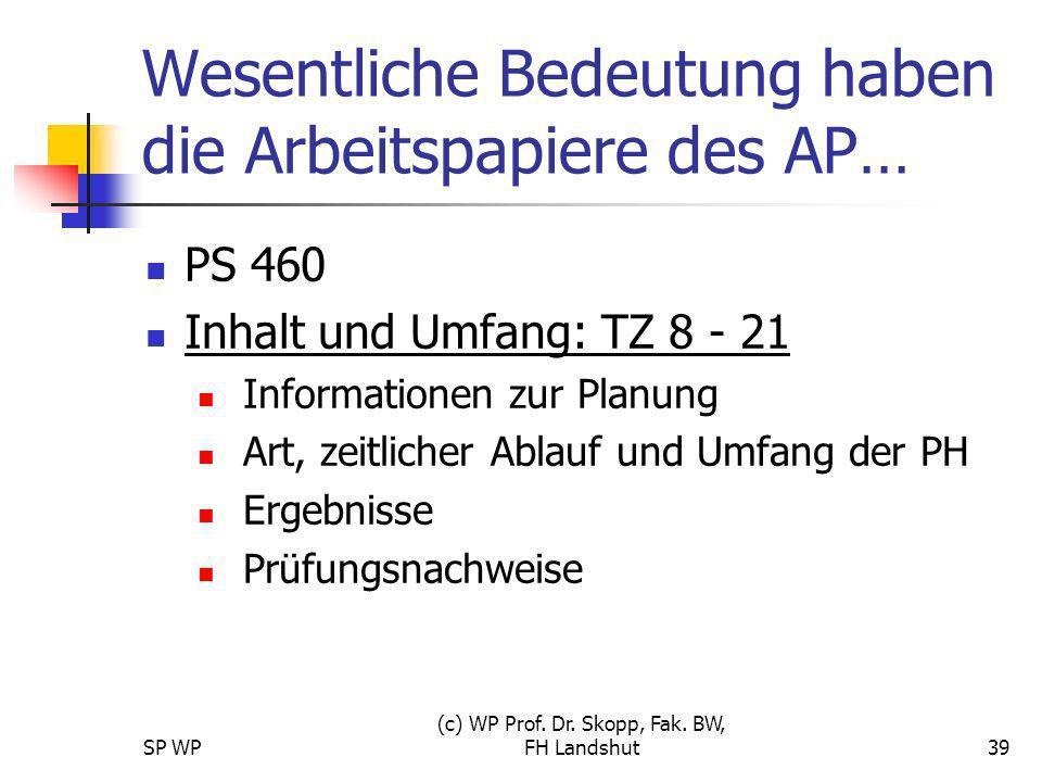 SP WP (c) WP Prof. Dr. Skopp, Fak. BW, FH Landshut39 Wesentliche Bedeutung haben die Arbeitspapiere des AP… PS 460 Inhalt und Umfang: TZ 8 - 21 Inform