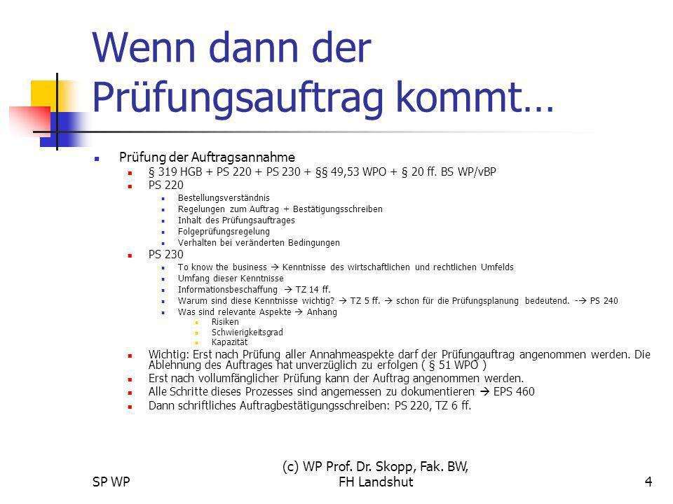 SP WP (c) WP Prof. Dr. Skopp, Fak. BW, FH Landshut4 Wenn dann der Prüfungsauftrag kommt… Prüfung der Auftragsannahme § 319 HGB + PS 220 + PS 230 + §§