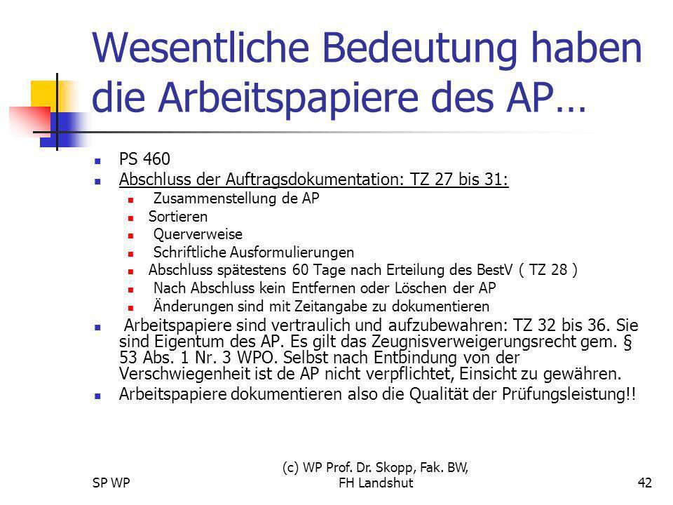 SP WP (c) WP Prof. Dr. Skopp, Fak. BW, FH Landshut42 Wesentliche Bedeutung haben die Arbeitspapiere des AP… PS 460 Abschluss der Auftragsdokumentation