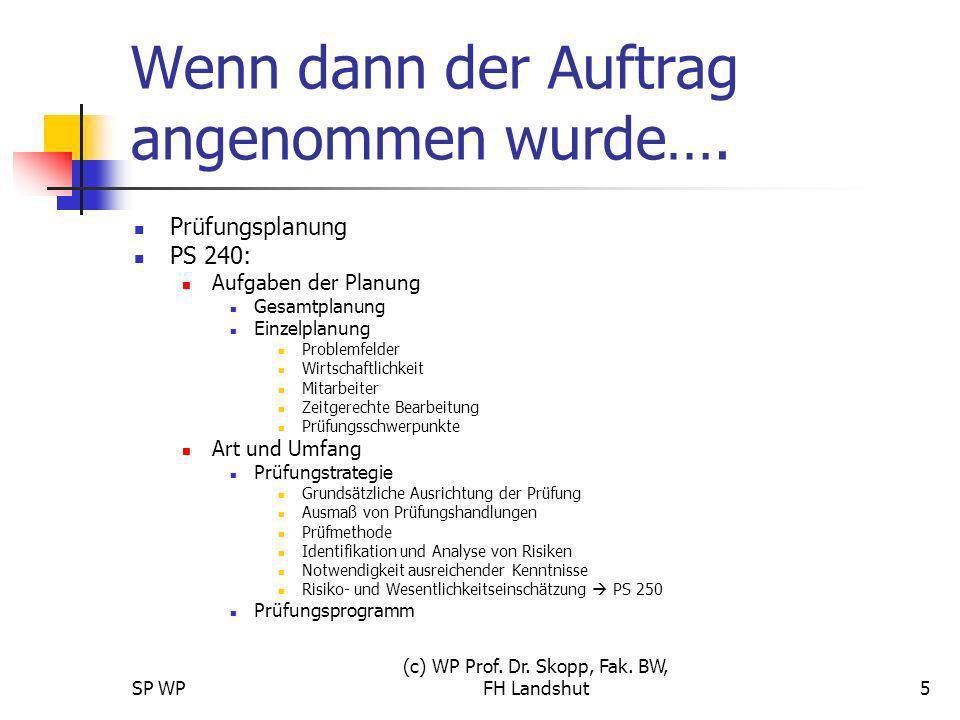 SP WP (c) WP Prof. Dr. Skopp, Fak. BW, FH Landshut5 Wenn dann der Auftrag angenommen wurde…. Prüfungsplanung PS 240: Aufgaben der Planung Gesamtplanun