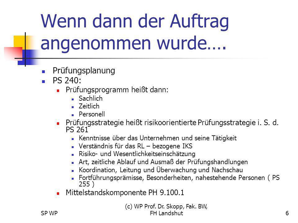 SP WP (c) WP Prof. Dr. Skopp, Fak. BW, FH Landshut6 Wenn dann der Auftrag angenommen wurde…. Prüfungsplanung PS 240: Prüfungsprogramm heißt dann: Sach