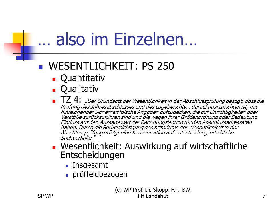 SP WP (c) WP Prof. Dr. Skopp, Fak. BW, FH Landshut7 … also im Einzelnen… WESENTLICHKEIT: PS 250 Quantitativ Qualitativ TZ 4: Der Grundsatz der Wesentl