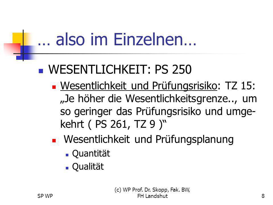 SP WP (c) WP Prof. Dr. Skopp, Fak. BW, FH Landshut8 … also im Einzelnen… WESENTLICHKEIT: PS 250 Wesentlichkeit und Prüfungsrisiko: TZ 15: Je höher die