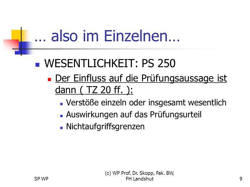 SP WP (c) WP Prof. Dr. Skopp, Fak. BW, FH Landshut9 … also im Einzelnen… WESENTLICHKEIT: PS 250 Der Einfluss auf die Prüfungsaussage ist dann ( TZ 20