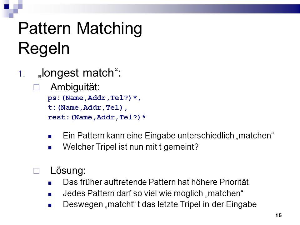 15 Pattern Matching Regeln 1. longest match: Ambiguität: ps:(Name,Addr,Tel?)*, t:(Name,Addr,Tel), rest:(Name,Addr,Tel?)* Ein Pattern kann eine Eingabe