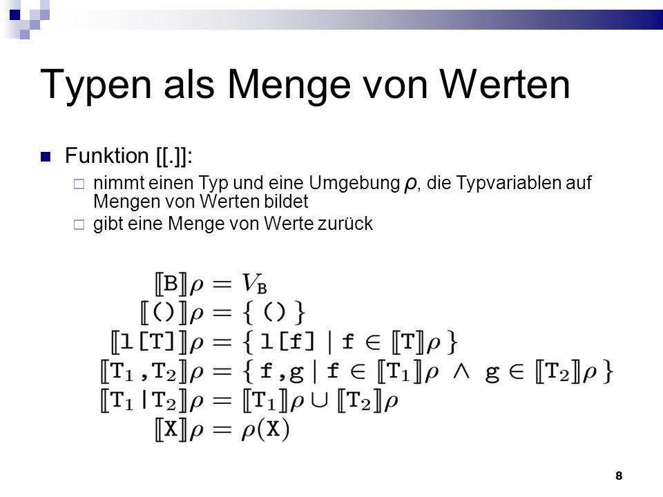 9 Subtyping-Relation Es gibt Typen, die in andere enthalten sind (Teilmenge- Relation): a <: a+ a ist Teilmenge von a+ Ein Typ ist ein Subtyp von einem anderen, wenn der erste eine Teilmenge vom letzten beschreibt Die Werte die links enthalten sind, sind auch rechts enthalten