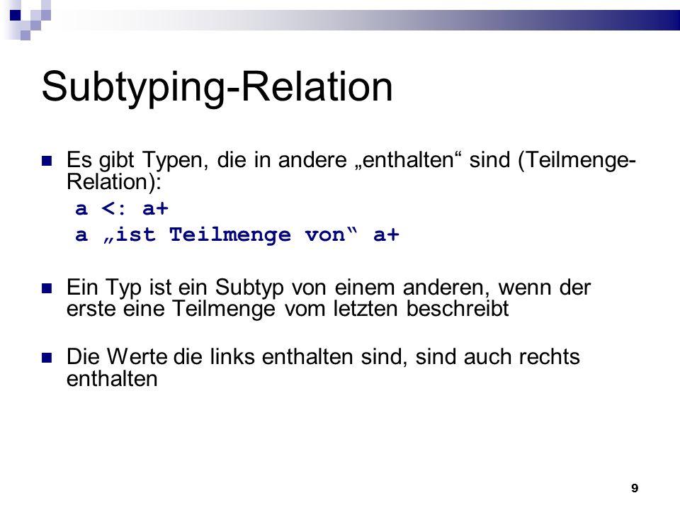 9 Subtyping-Relation Es gibt Typen, die in andere enthalten sind (Teilmenge- Relation): a <: a+ a ist Teilmenge von a+ Ein Typ ist ein Subtyp von eine