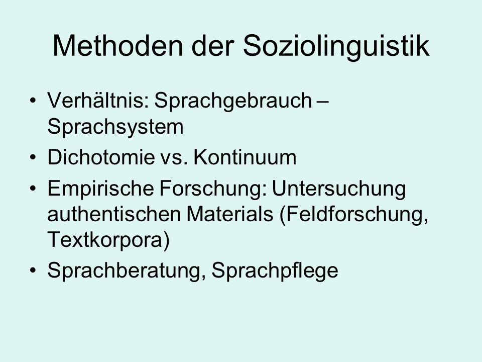 Methoden der Soziolinguistik Verhältnis: Sprachgebrauch – Sprachsystem Dichotomie vs. Kontinuum Empirische Forschung: Untersuchung authentischen Mater