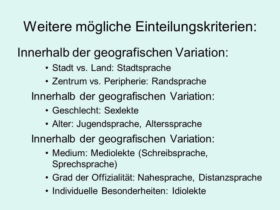 Weitere mögliche Einteilungskriterien: Innerhalb der geografischen Variation: Stadt vs. Land: Stadtsprache Zentrum vs. Peripherie: Randsprache Innerha