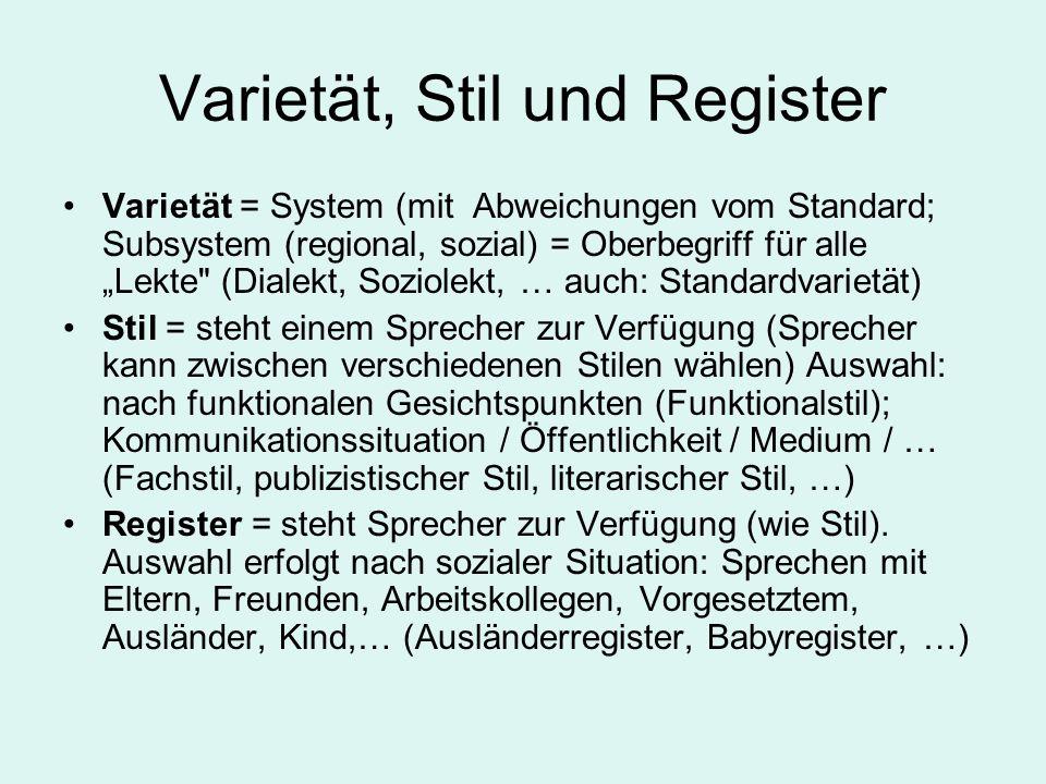 Varietät, Stil und Register Varietät = System (mit Abweichungen vom Standard; Subsystem (regional, sozial) = Oberbegriff für alle Lekte